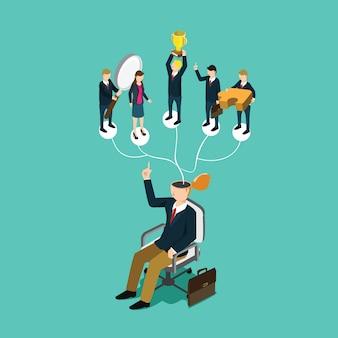 Homem de negócios, pensando em trabalho de parceria