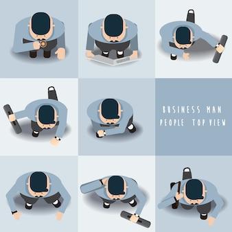 Homem de negócios permanente conjunto de vista superior, ilustração vetorial