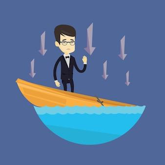 Homem de negócios permanente no barco afundando.
