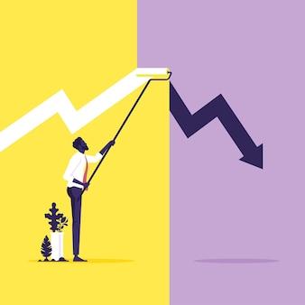 Homem de negócios pintando gráfico de crescimento com tinta a rolo. resolva o problema