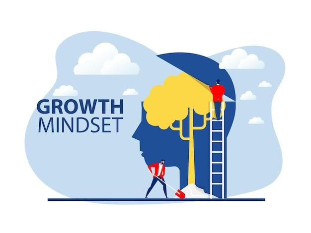 Homem de negócios planta árvore em vetor de conceito de mentalidade de crescimento, cabeça grande, pensamento humano