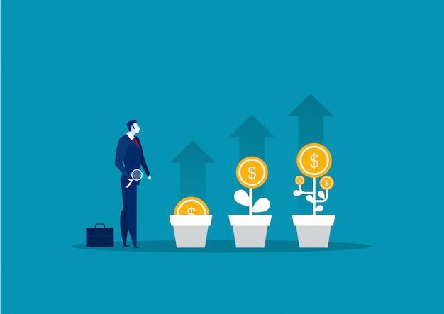 Homem de negócios plantar uma árvore do dinheiro ou escolher dólares da árvore do dinheiro. crescimento de negócios, ilustração