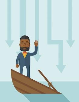 Homem de negócios preto da falha que está em um barco afundando.