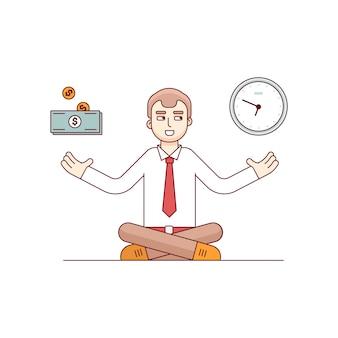 Homem de negócios que busca o equilíbrio