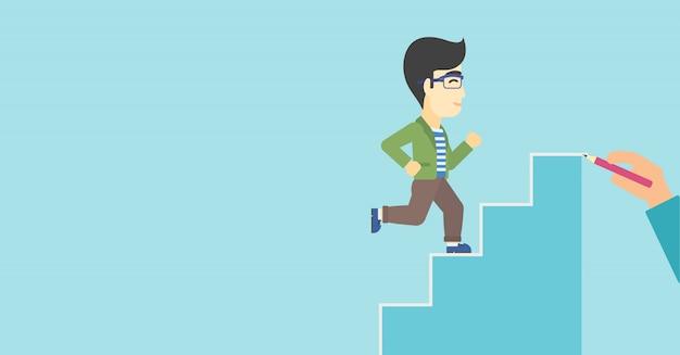 Homem de negócios que corre em cima da ilustração do vetor.