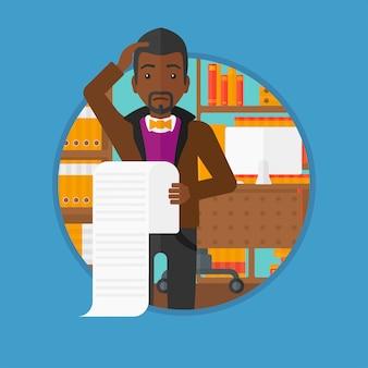 Homem de negócios que guarda a ilustração longa do vetor da conta.