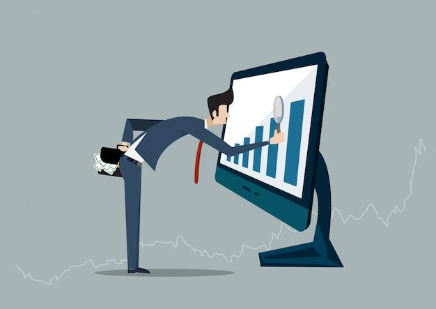 Homem de negócios que procura a oportunidade do investimento que está no gráfico do crescimento. mercado de ações de lucro. no computador portátil