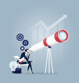 Homem de negócios que procura a visão esperta para o bom futuro - conceito do negócio