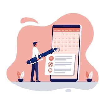 Homem de negócios que reserva um compromisso por meio de ilustração do conceito de app para smartphone.