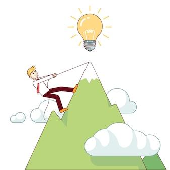 Homem de negócios que trabalha duro escalando montanha