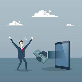 Homem de negócios, recebendo dinheiro de tablet digital
