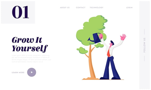 Homem de negócios regando árvores no jardim com lata de água. ciclo de vida, linha do tempo e metáfora do crescimento, hobby de jardinagem, sucesso. página inicial do site