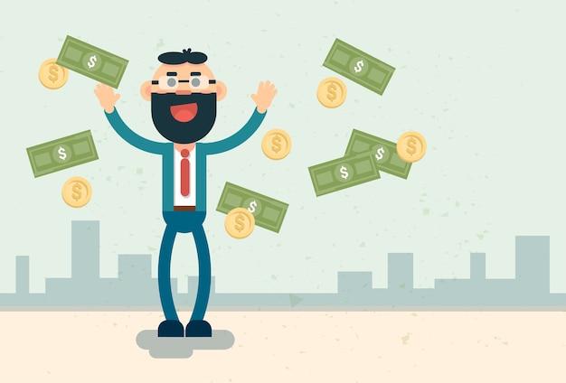 Homem de negócios rico jogar dinheiro finanças sucesso