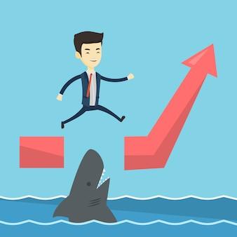 Homem de negócios, saltando sobre o oceano com tubarão.