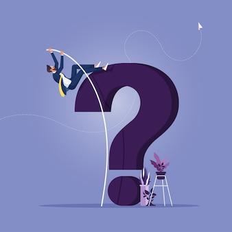 Homem de negócios salto com vara supera obstáculos para resolver problemas