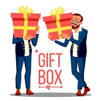 Homem de negócios, segurando a caixa de presente vermelha