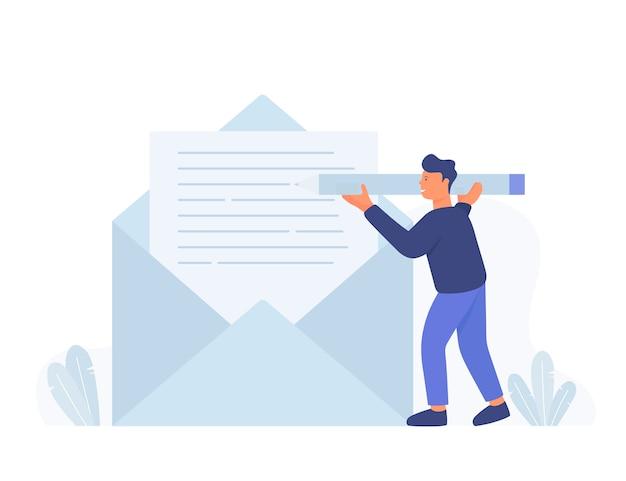 Homem de negócios segure o lápis e escreva uma nova mensagem de e-mail, notificação por correio.