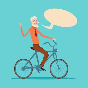 Homem de negócios sênior chefe negócios proprietário passeio de bicicleta