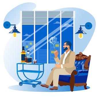Homem de negócios, sentado na poltrona, fumando charuto