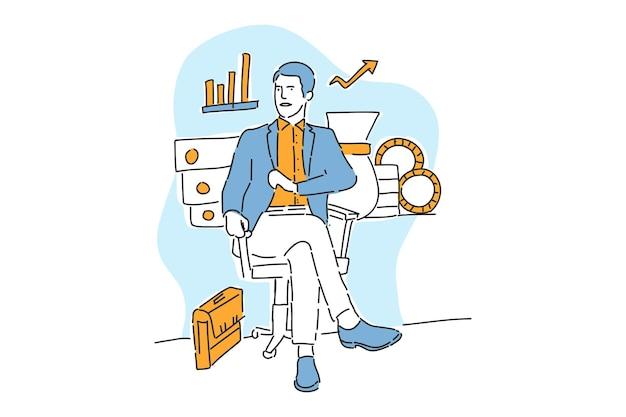 Homem de negócios sentado para fazer desenhos de mão de ilustração de negócios