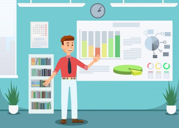 Homem de negócios showing growing gráficos no escritório.