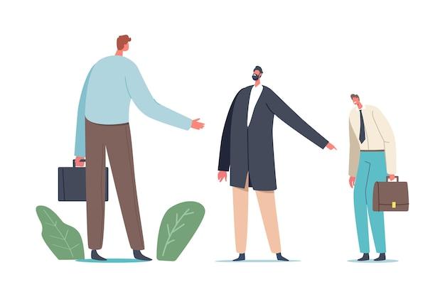 Homem de negócios sorrateiro muda a culpa para o empresário confuso personagem de bode expiatório no local de trabalho em frente ao rosto do chefe apontando com o dedo para o colega fraco, culpando
