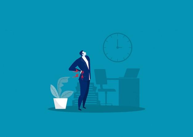 Homem de negócios suffering from back pain na ilustração do escritório.