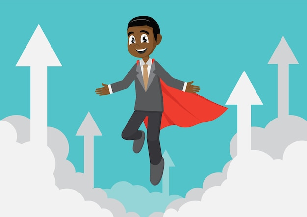 Homem de negócios super africano que voa dentro no céu com setas.