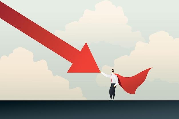 Homem de negócios super-herói para um gráfico de flechas caindo vencendo