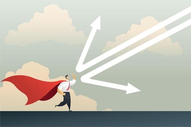 Homem de negócios super-herói refletindo um gráfico de flecha caindo para proteger