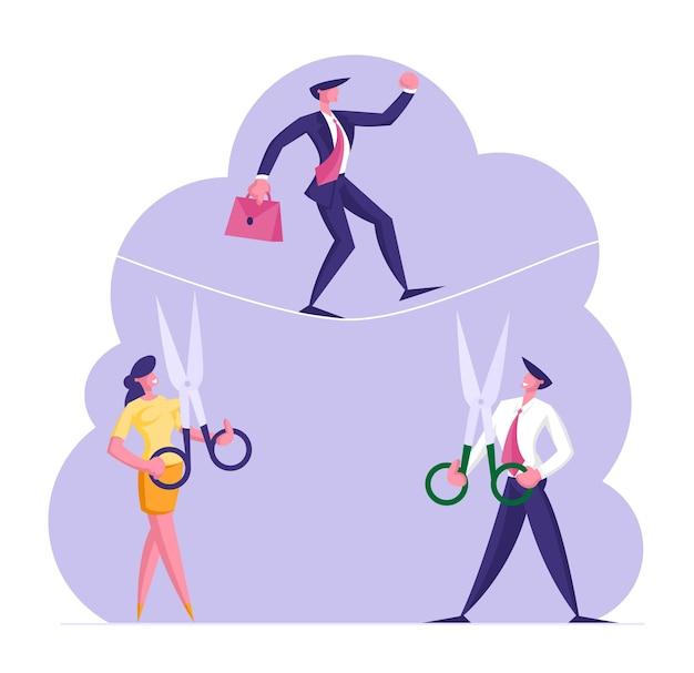 Homem de negócios tentando cruzar um obstáculo em equilíbrio na corda enquanto seus oponentes