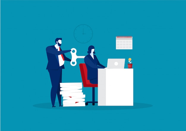 Homem de negócios trabalha duro com vetor de conceito-chave de corda