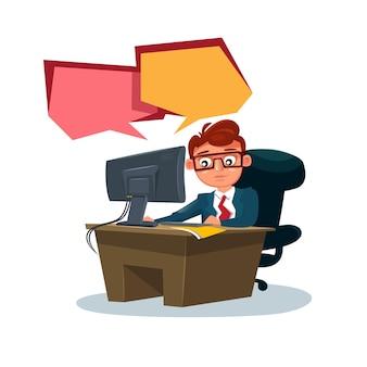 Homem de negócios, trabalhando no computador sente-se na mesa de escritório, sobre branco