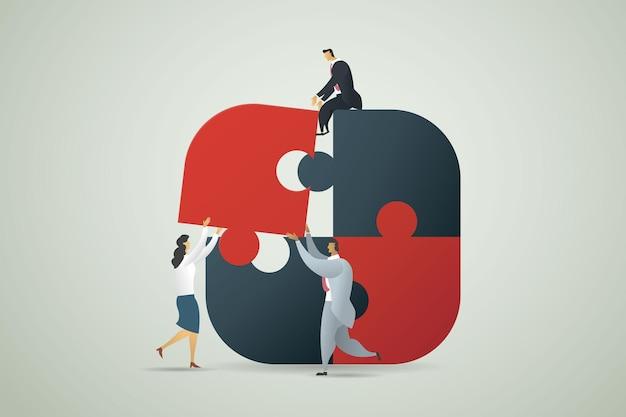 Homem de negócios, trabalho em equipe, parceria, construção, cooperação, criar uma interação de equipe para atingir o objetivo