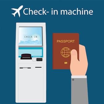Homem de negócios usando a máquina de check-in.