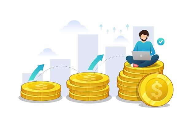 Homem de negócios usando laptop em moedas vetor grahic