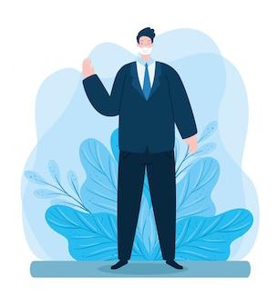 Homem de negócios usando máscara facial acenando com folhas decoração ilustração design