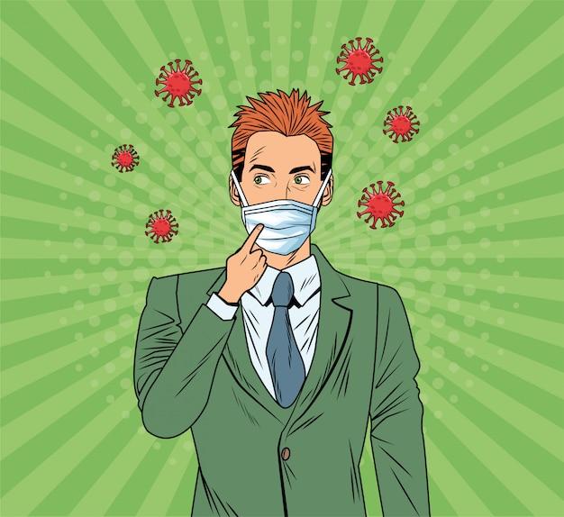 Homem de negócios usando máscara facial e covid19 partículas estilo pop art