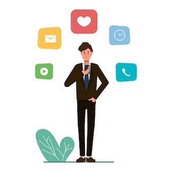 Homem de negócios usando um personagem de infográfico de telefone móvel.