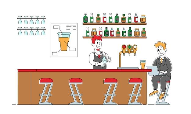 Homem de negócios visitando cervejaria ou boate