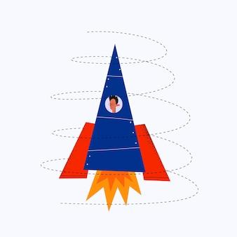 Homem de negócios voa em um foguete