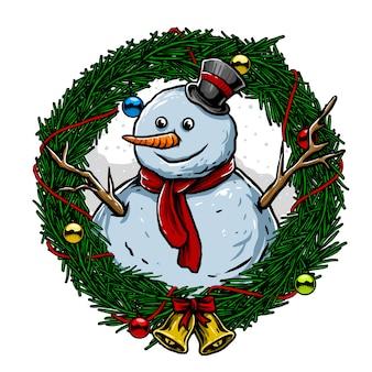 Homem de neve com círculo folhas, sinos e bolas para saudação de natal