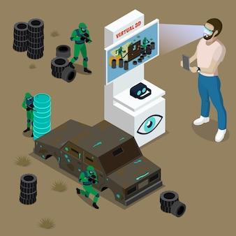 Homem de óculos 3d e ilustração em vetor isométrica de máquina de jogo virtual