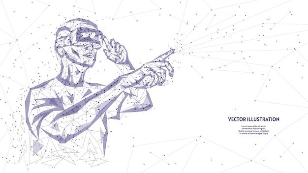 Homem de óculos, capacete de realidade virtual adicional. estudos online, análise de dados, diagnóstico, ciência, jogos de realidade virtual. tecnologia inovadora de entretenimento para jogos. ilustração de baixo poli.