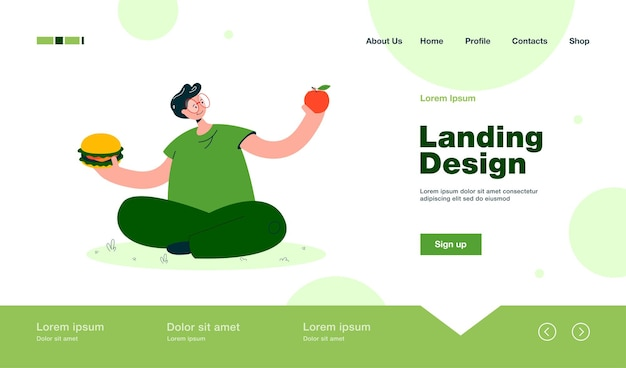 Homem de óculos escolhendo entre frutas e junk food página inicial em estilo simples