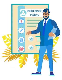 Homem de óculos mostra a mão no ponto de apólice de seguro
