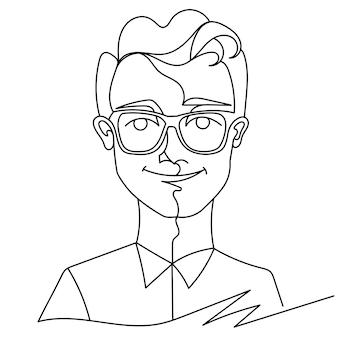Homem de óculos, sorrindo retrato uma arte de linha. expressão facial masculina feliz. silhueta de homem linear desenhada de mão.