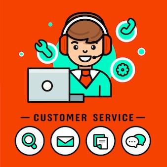 Homem de operador com fones de ouvido. vetor de centro de chamada, banner de desenho de vetor moderno