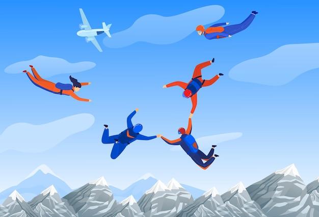 Homem de paraquedismo, ilustração de esporte radical.