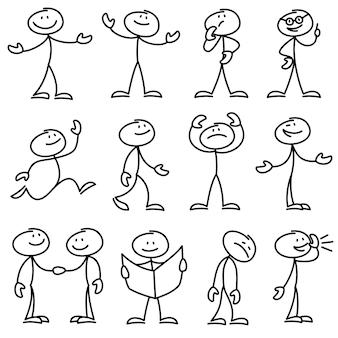 Homem de pau desenhado mão dos desenhos animados em conjunto de poses diferentes